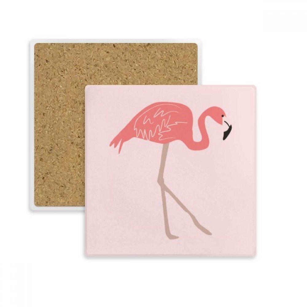 Walking Flamingoパターンピンクスクエアコースターカップマグホルダー吸収性ストーンDrinksの2個ギフト   B07B2313HG