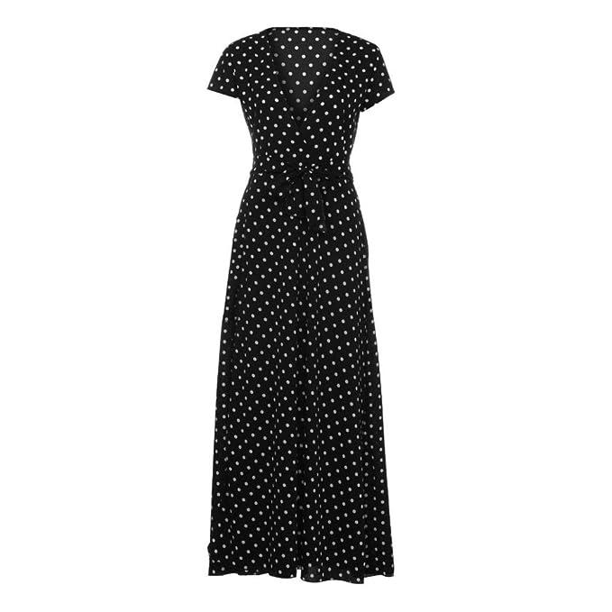 84bf30a5e79c HODOD Summer Fashion Women s Black Bohemia Style Dot Long Evening Party  Cocktail Dress Short Sleeve Beach