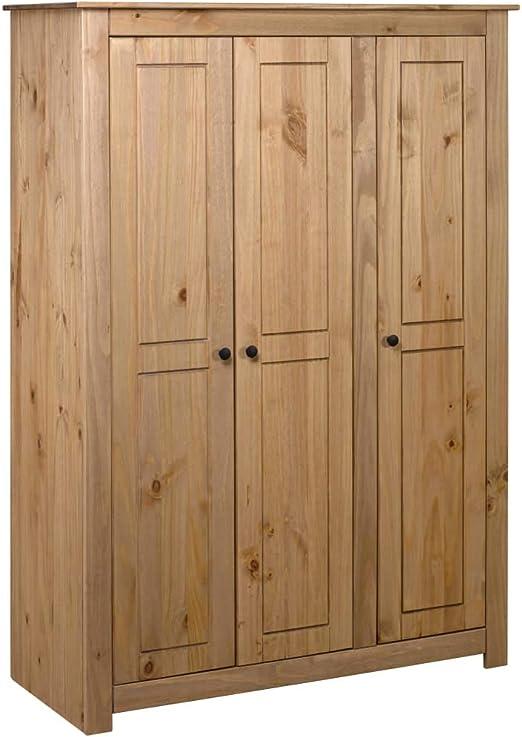 Tidyard Armario de 3 Puertas Madera Pino Panamá Range 118x50x171,5 cm,con 4 estantes y un Compartimento Grande con Barra para Colgar: Amazon.es: Hogar