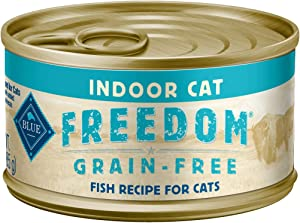 Blue Buffalo Freedom Grain Free Natural Adult Pate Wet Cat Food Indoor Fish 3-oz cans (Pack of 24)
