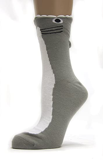 4f5c6acb037e Wide Mouth Shark Socks (Grey) at Amazon Women's Clothing store: Casual Socks