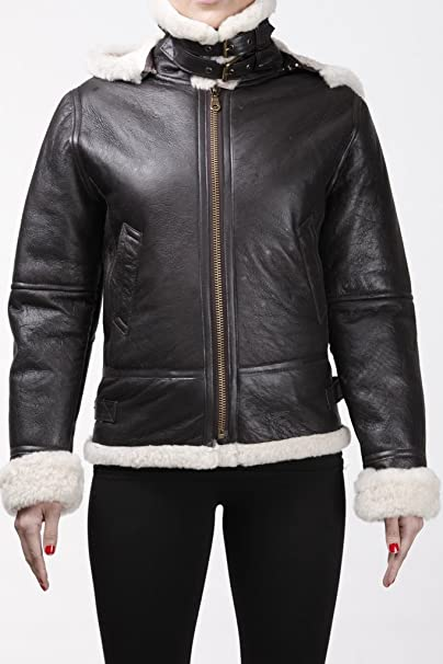 Womens Aviator Hooded Sheepskin Flying Brown Leather Jacket ...