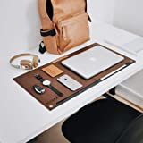 NIVERA® Large PU Felt Laptop Desk Mate, Extended Gaming Mouse, Keyboard Pad, Desk Mat for Office, with Pen & Paper Pocket -Brown