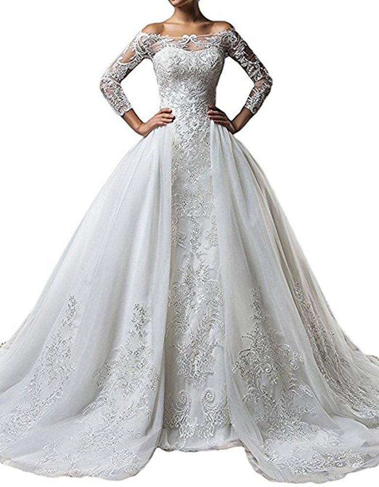 Kiss Rain Women's Long Sleeves Off-The-Shoulder Lace Mermaid Detachable Train Wedding Dress