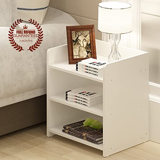 No Drawer Bedside Table, Wooden Side Table / Nightstand, White