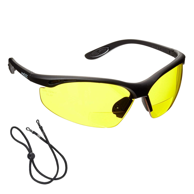 voltX 'CONSTRUCTOR' BIFOKALE Schutzbrille mit Lesehilfe (GELB +1.0 Dioptrie) CE EN166F zertifiziert/Sportbrille für Radler enthält Sicherheitsband – Bifocal Safety Glasses StraightLines Others