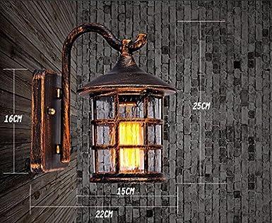 VanMe Mur De Fer Rustique Antique Ext/érieur /Étanche Lampe Vintage Lampe Murale Applique Murale Couloir Lumineux,Black