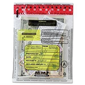 MMF Industries FraudStopper Tamper-Evident Deposit Bags, 2.5 mm, 9 x 12 Inches, 100 Bags per Box, Clear (2362010N20)