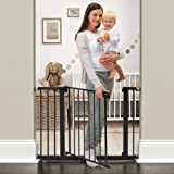 """Cumbor 43.3""""Auto Close Safety Baby Gate, Extra Tall and Wide Child Gate, Easy Walk Thru Durability Dog Gate for The House, Stairs, Doorways. Includes 4 Wall Cups, 2.75-Inch and 8.25-Inch Extension"""