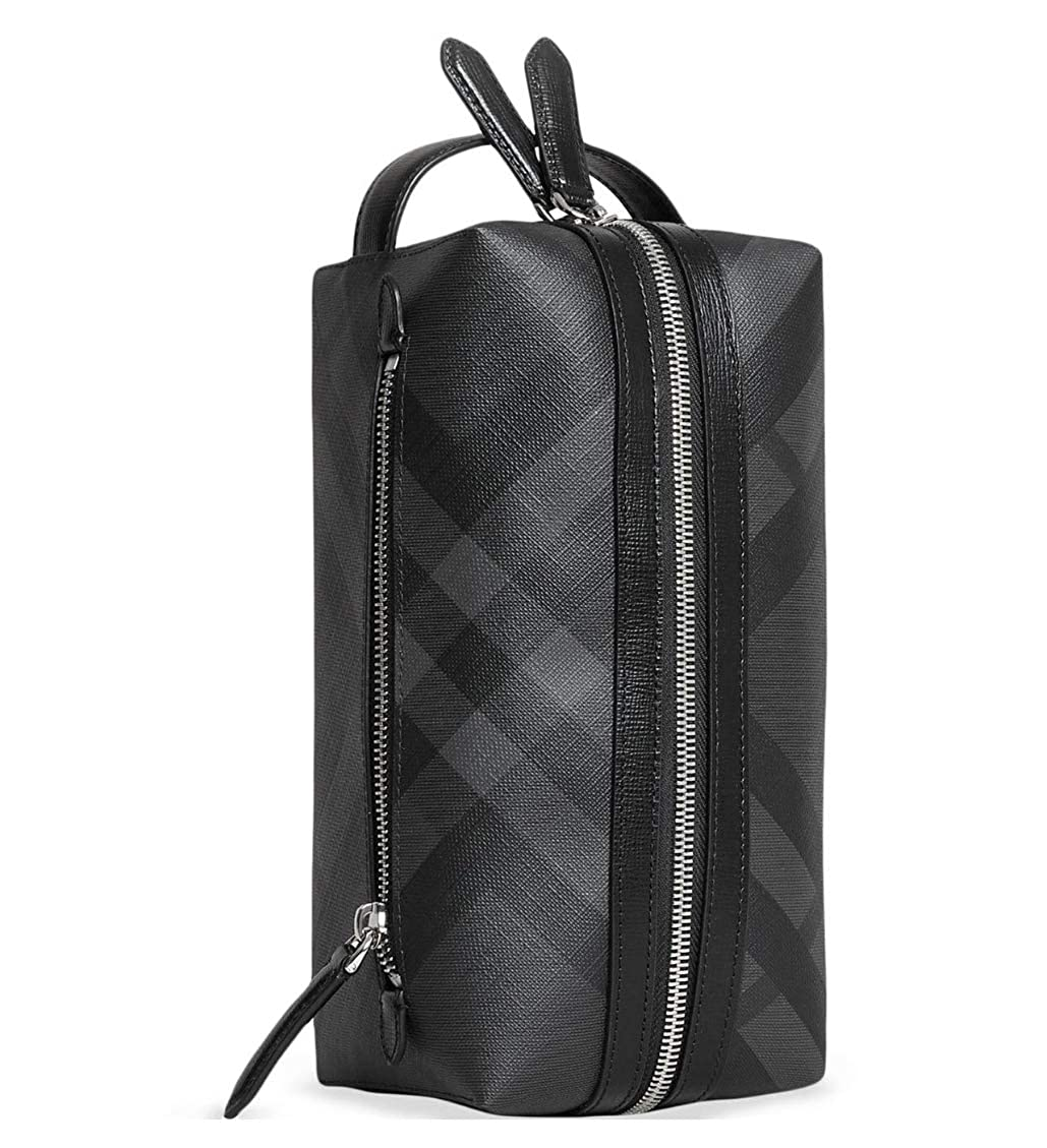 7593235da658 Burberry London Signature Check Pouch Wash-Bag Toiletry Travel Case Charcoal   Amazon.co.uk  Shoes   Bags