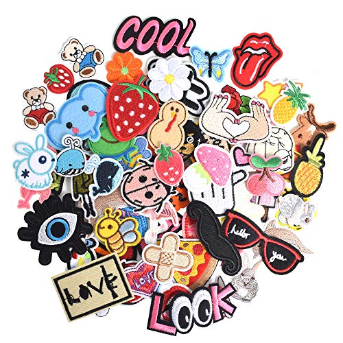 SHELCUP 70PCS Random Cool Embroidered Iron on Patches, for Jackets, Packs, Jeans, Assorted Styles