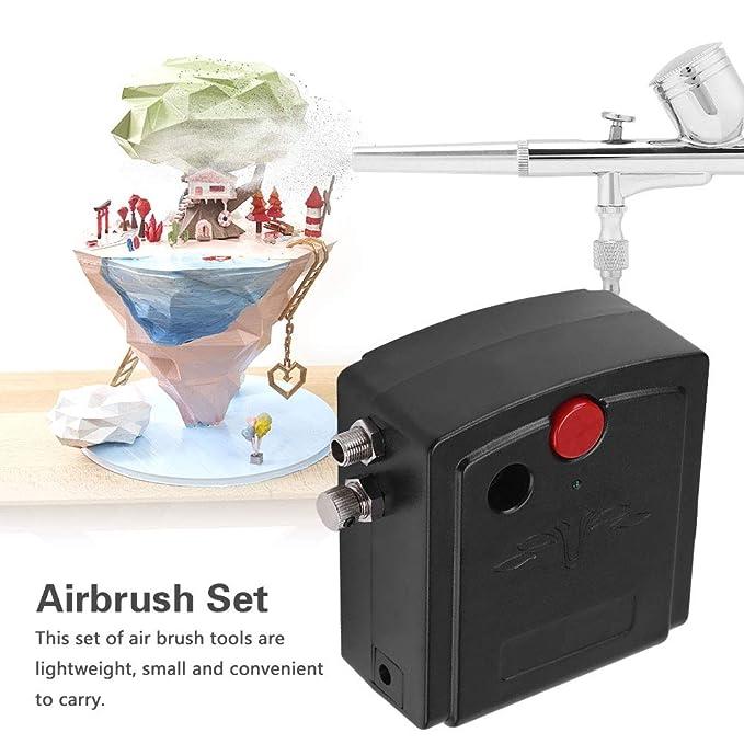 Juego de aerógrafo, Mini compresor de aerógrafo, 0.2 mm, 7cc, doble acción, aerógrafo, pistola pulverizadora para maquillaje, pintura de arte de uñas, ...
