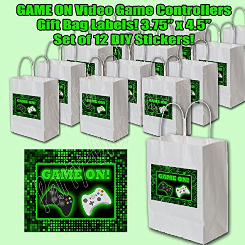 GAME ON Stickers Video Game Controllers Game Truck Party Favors Supplies Decorations Gift Bag Label STICKERS ONLY 3.75'' x 4.75'' -12 pcs by Party Over Here
