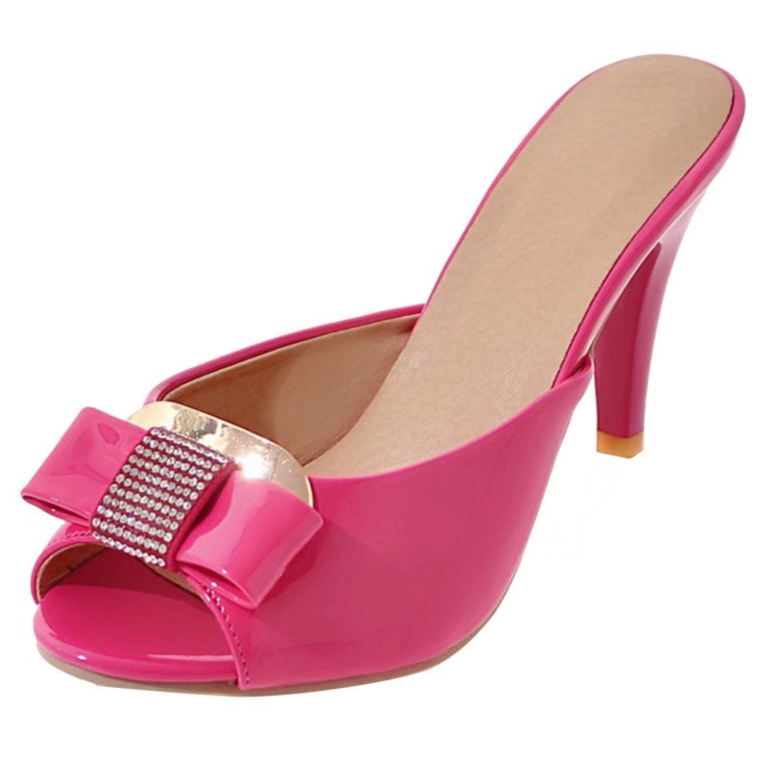 AIYOUMEI Damen Lack Pantoffeln mit Schleife und Strass Sandalen Peep Toe Slippers High Heels Mules  38.5 EU|Rosa