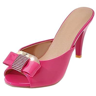 AIYOUMEI Damen Lack Pantoletten High Heels Mules Blockabsatz Sandaletten Slipper Damen Slip on Sandalen  Pink