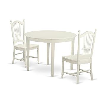 Amazon.com: East West Furniture bodo3-whi-w 3 pieza mesa y 2 ...