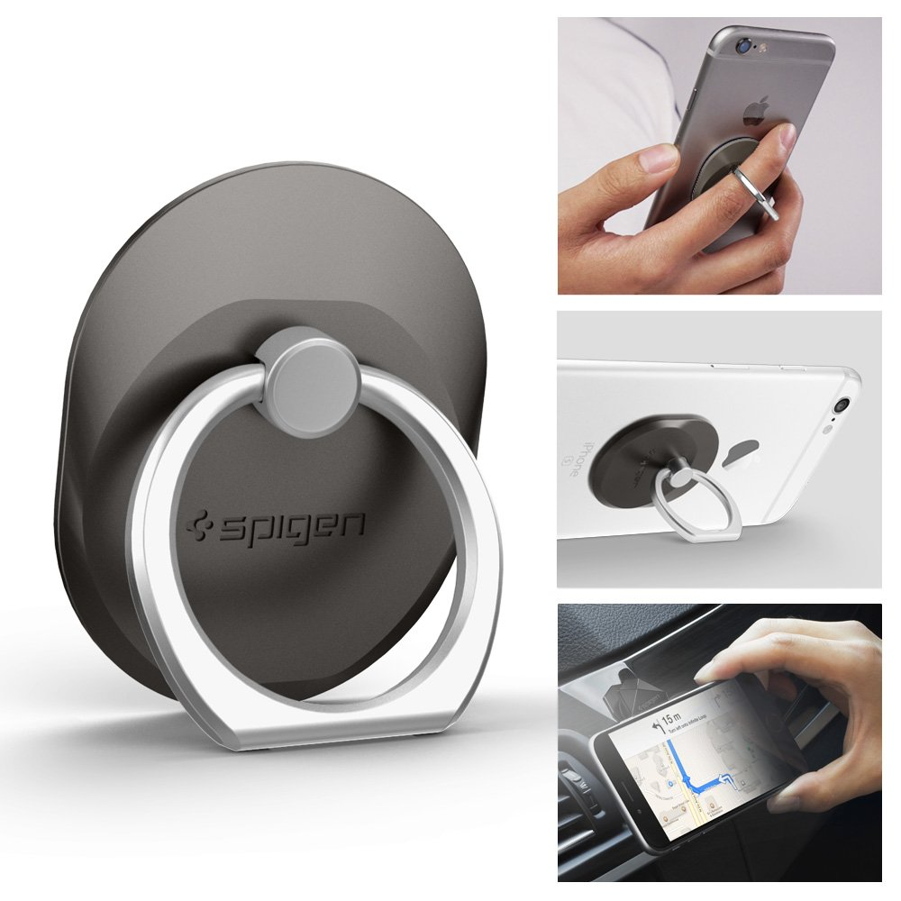 the best attitude 476f8 1b2e5 Spigen Style Ring Cell Phone Ring Phone Grip/Stand/Holder for All Phones  and Tablets - Space Gray