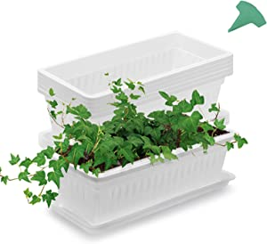 GROWNEER 6 Packs 15 Inches White Flower Window Box Plastic Vegetable Planters with 15 Pcs Plant Labels, for Windowsill, Patio, Garden, Home Décor, Porch
