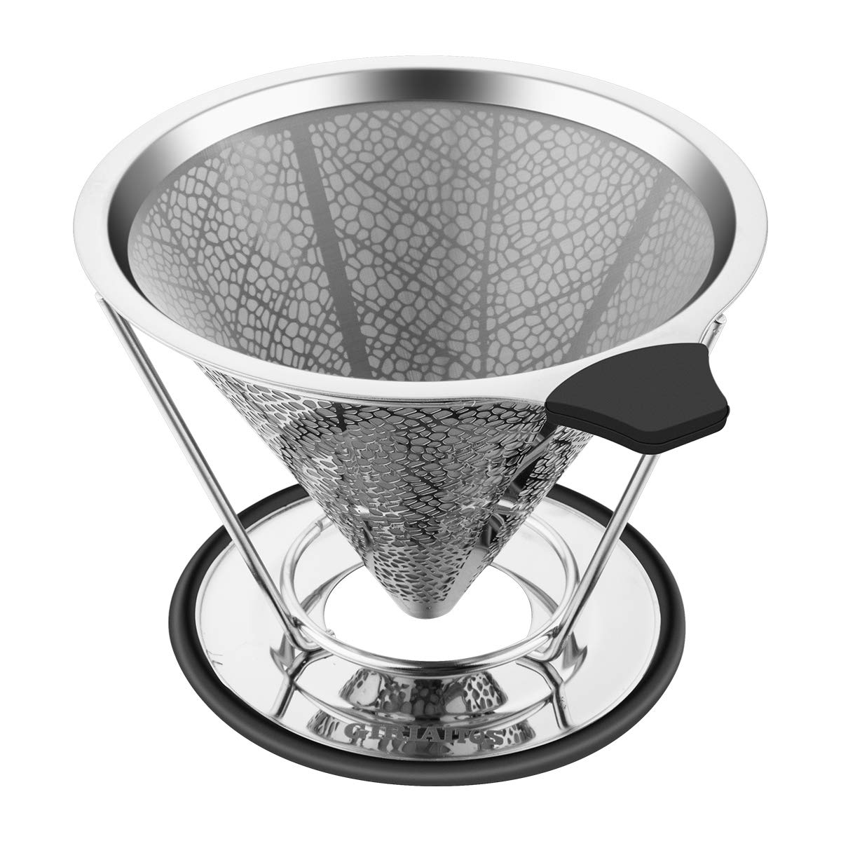 Pour Over Coffee Dripper, GRATU Stainless Steel Coffee Filters Cone with Stand Reusable Paperless Pour Over Coffee Maker for 1-4 Cup