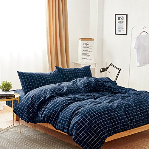 Wake In Cloud - Navy Grid Duvet Cover Set, 100% Washed Cotton Bedding, Navy Blue with White Grid Plaid Geometric Pattern Printed, with Zipper Closure (3pcs, Queen Size) (Flannel Cover Plaid Duvet Blue)