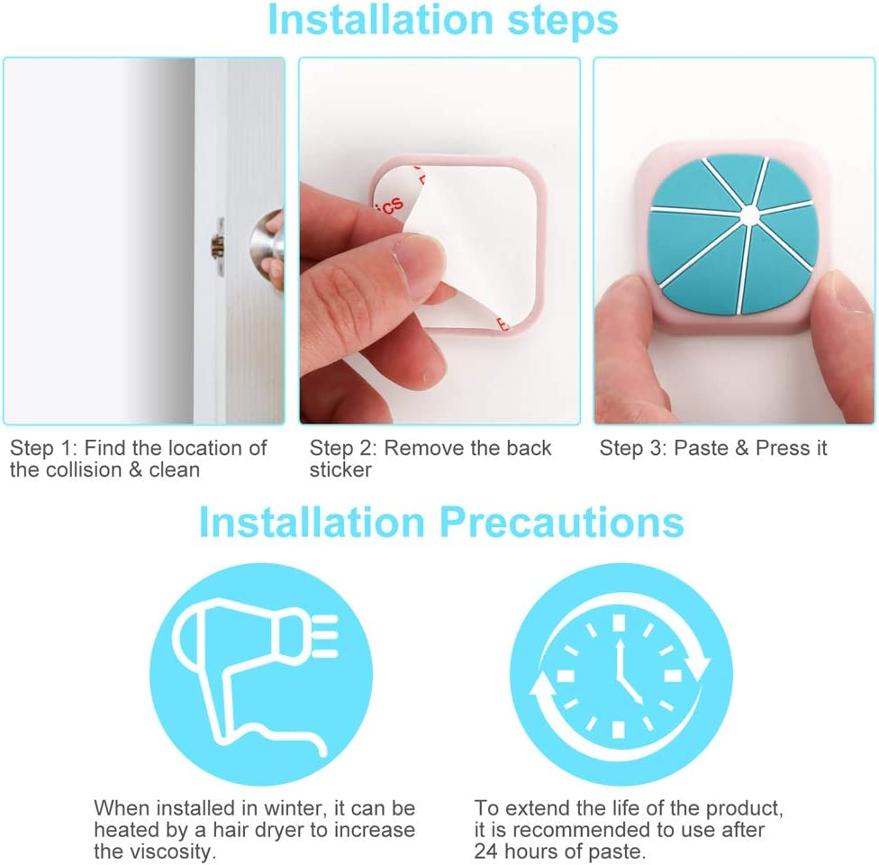 Silicon Cartoon Door Stopper Bumpers Pack of 3 Square-Shape Mixing Used to Silence and Protect Walls /& Handles Door Stop Wall Protector with Self Adhesive 3M Sticker