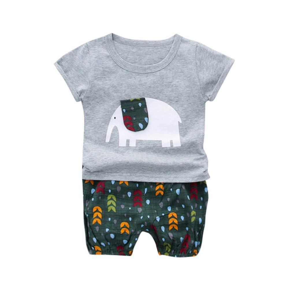 EFINNY Summer Baby Boy Casual Cartoon Elephant Print Short Sleeve T-Shirt Shorts Set Toddler Cotton Outfits