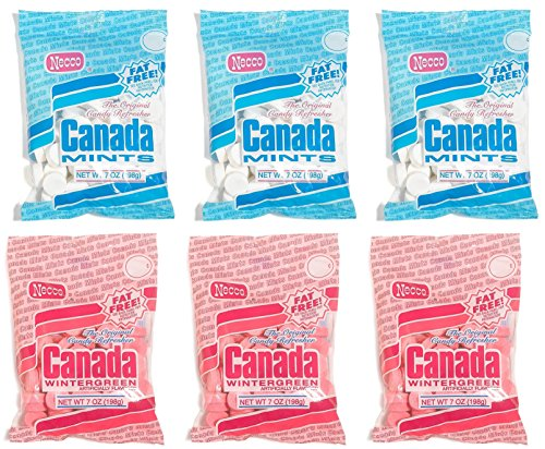 - Necco The Original Candy Refresher Canada Peppermints (7-Ounce Bags, Pack of 3) Bundled with Wintergreen (7-Ounce Bags, Pack of 3)