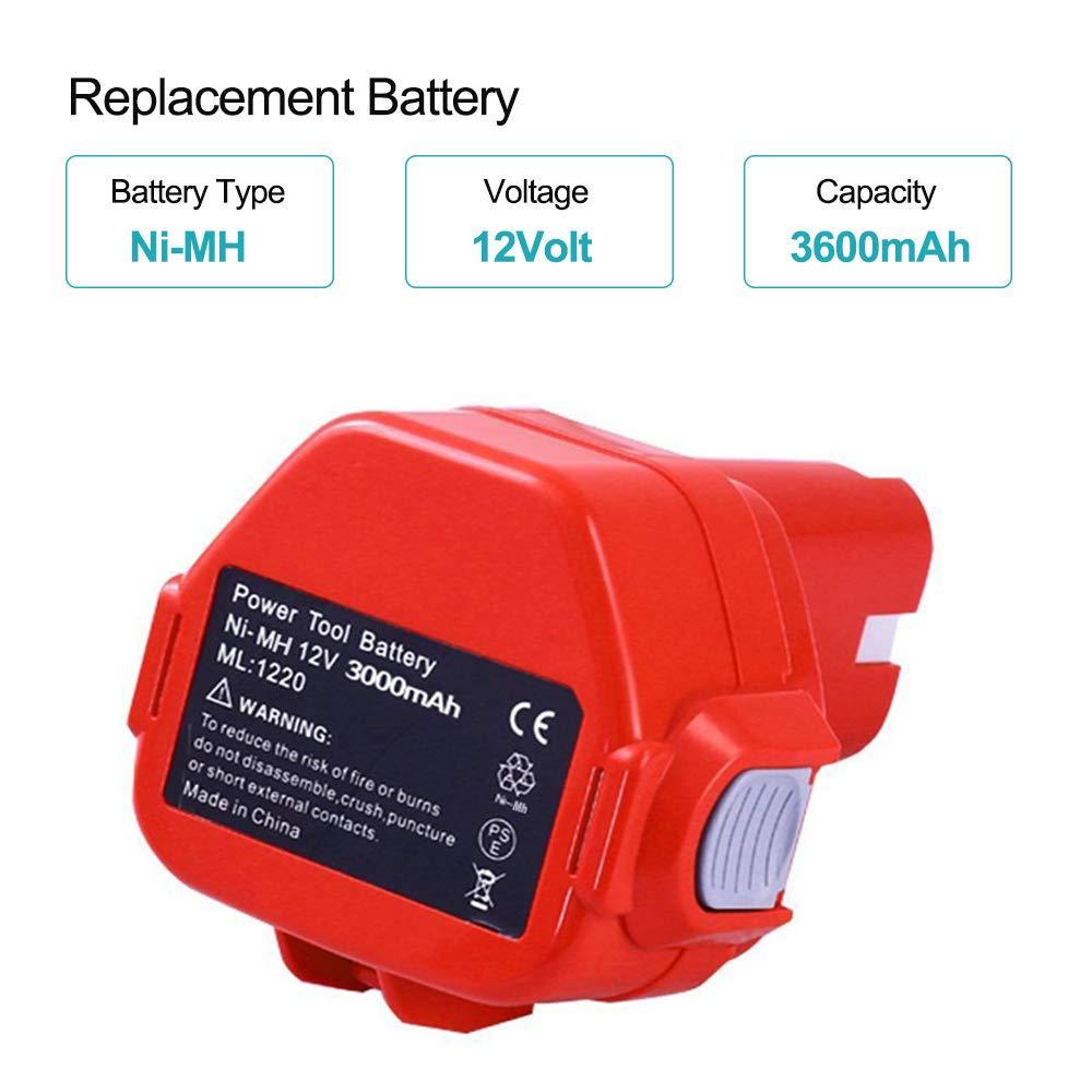 Moticett 3.0Ah Ni-Mh Remplacement pour Makita 12V Batterie PA12 1220 1222 1233 1231 1234 1235 192696-2 192698-8 Sans fil Outil /électrique