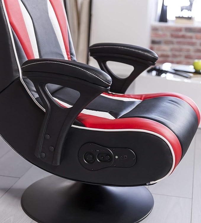 24Designs Soundchair Le Mans en Noir Rouge Bluetooth, haut
