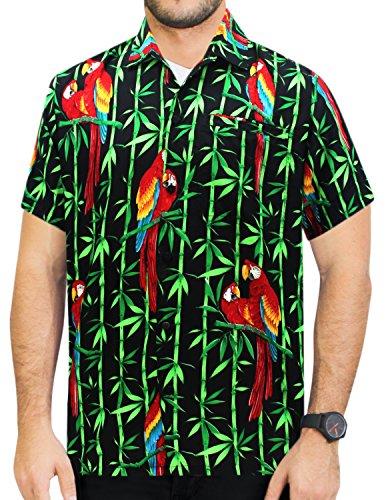 La Leela* Bouton de Perroquet DHomme à Manches Courtes Poche Noir Chemise Hawaïenne Noi