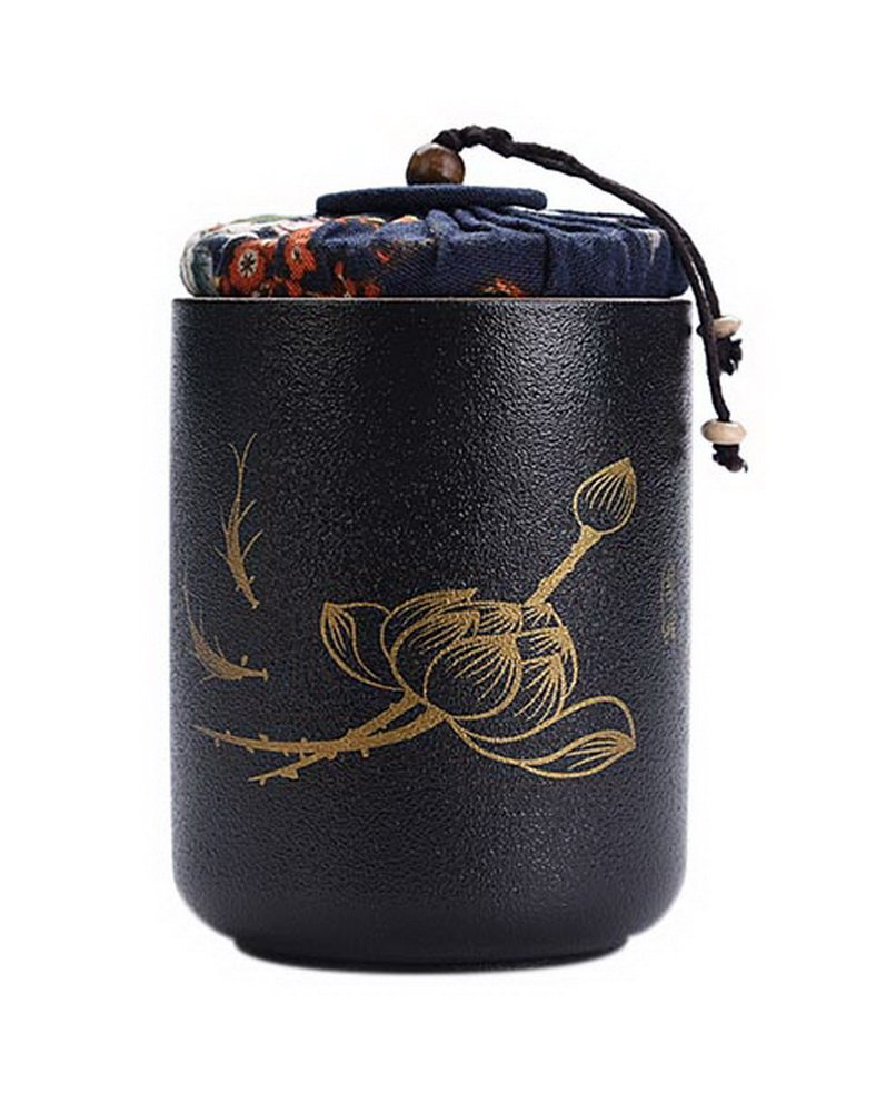 Gentle Meow Straight Pottery Tea Pot Chinese Kung Fu Tea Sealed Jar Storage Container, Black