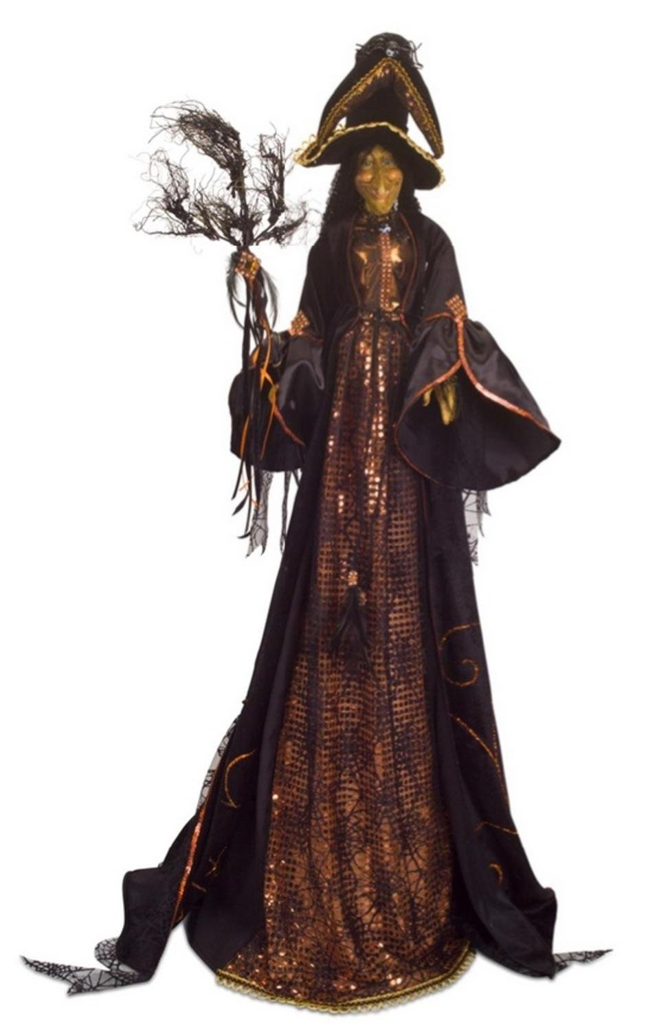 Pack of 2 Black and Orange Halloween Witch with Wicker Broom 46''