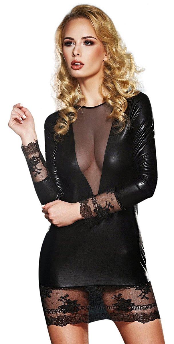 aa1c7c2d13db3b Clubwear 7Heaven Wetlook-Minikleid schwarz Partykleid Grössen M ...