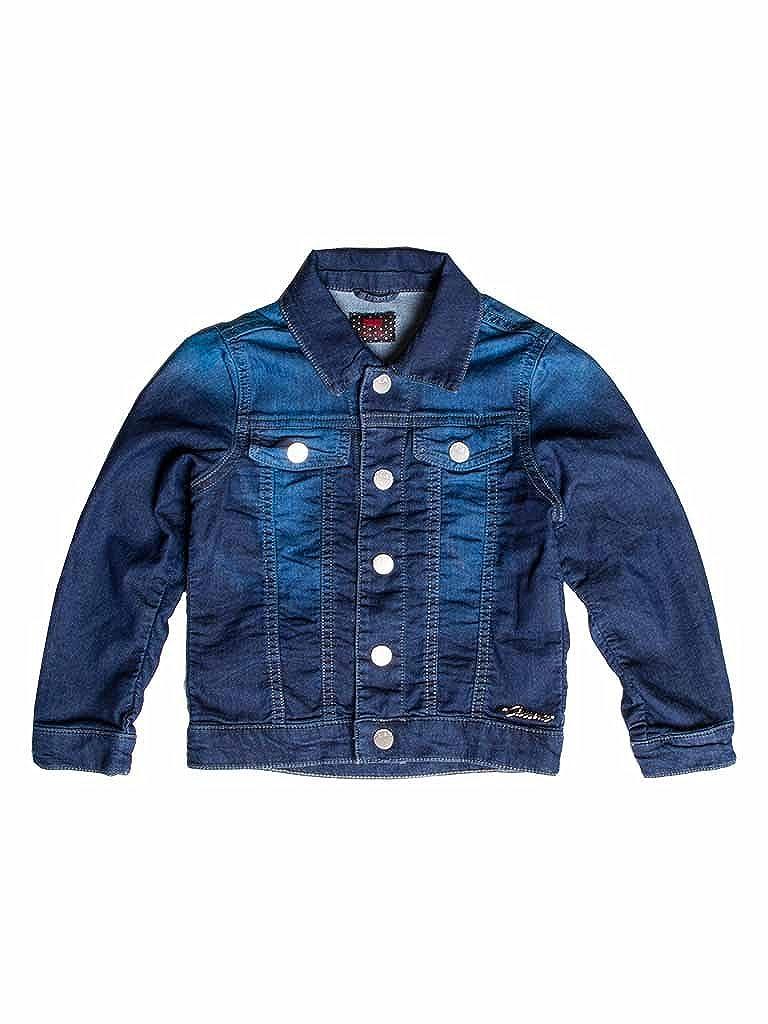 011 - Lavage Bleu Foncé 5-6 ans (hauteur  116 cm) voiturerera Jeans - Blouson Jeans 451 pour Fille, Style Western, Tissu Extensible, Taille Slim, Manche Longue