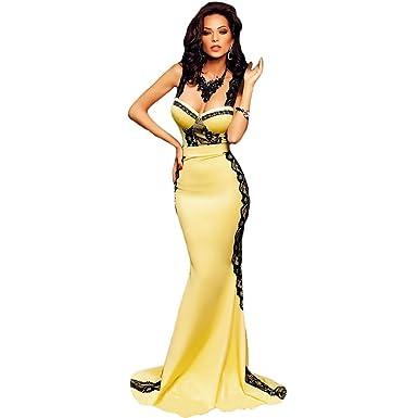 buy popular 12a9d 3b188 Mela Proibita - Abito donna lungo nero giallo a sirena ...