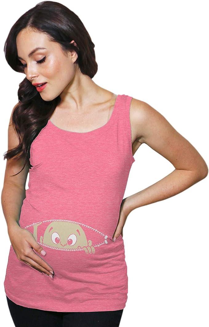 Crazy Dog T-Shirts Maternity Tank Top Peeking Baby Cute Funny Pregnancy Tank