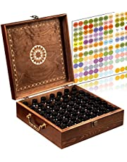 Essential Oil Storage Box Organizer 62 Bottle - 2 Carry Handles - Holds 5-30ml & 10ml Rollers (Space for.