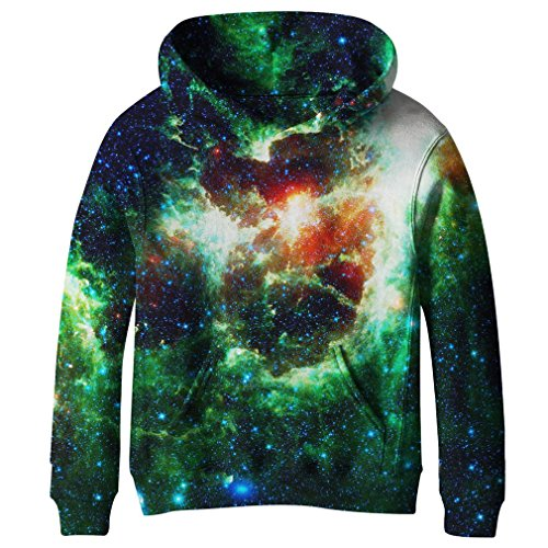 SAYM Teen Boys' Galaxy Fleece Sweatshirts Pocket Pullover Hoodies 4-16Y NO21 S]()