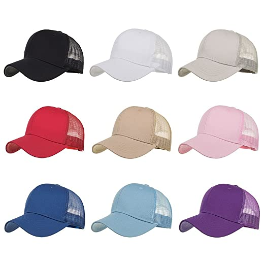 7a302b30 Unisex Fashion Golf Hat Adjustable Summer Solid Letter Cap Hats Ventilation  Full Mesh Baseball Hat UV Protection Cap (Beige 2) at Amazon Men's Clothing  ...