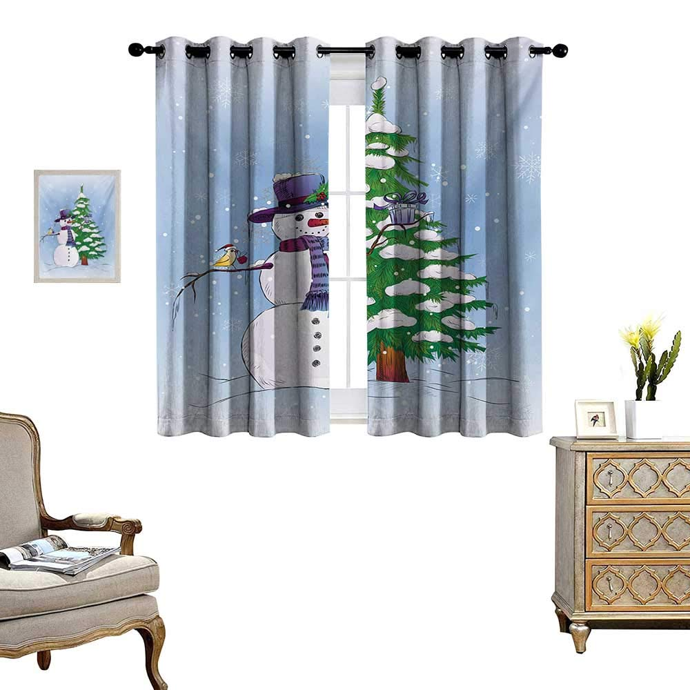 Christmas Waterproof Window Curtain Snowman in The Winter with Mistletoe Present Top Hat and Scarf Tree and Bird Blackout Draperies for Bedroom W55 x L45 Blue Green