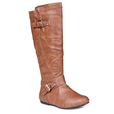Amazon.com | Twisted Women's Shelly Wide Width, Wide Calf Stitched ...