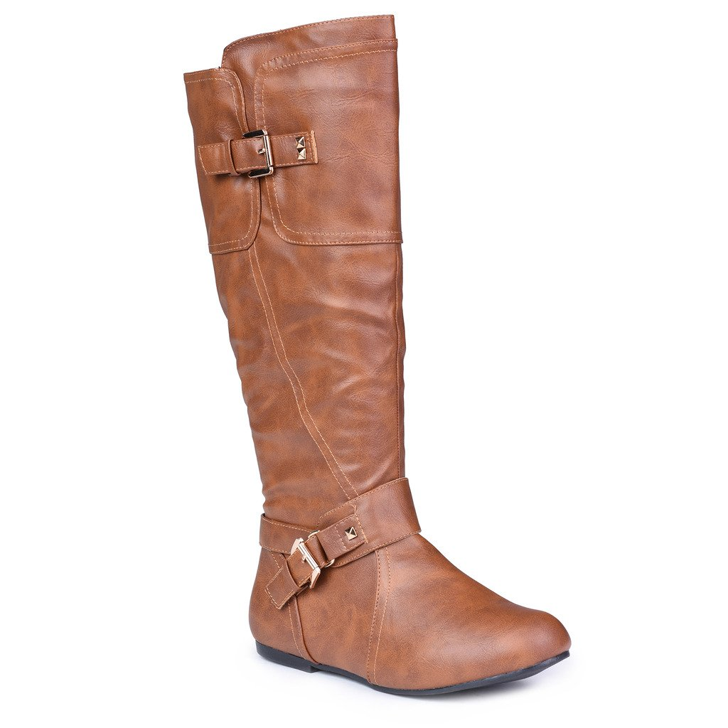 Twisted Women's Shelly Wide Width, Wide Calf Stitched Pannel Tall Boots with Pyramid Studs - COGNAC, Size 12