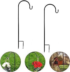 2 Pack Shepherd Hook 31.5 inch Tall Garden Outdoor Hook for Hanging Solar Light, Bird Feeders, Lanterns, Mason Jars, Garden Stake and Wedding Decor (Black)