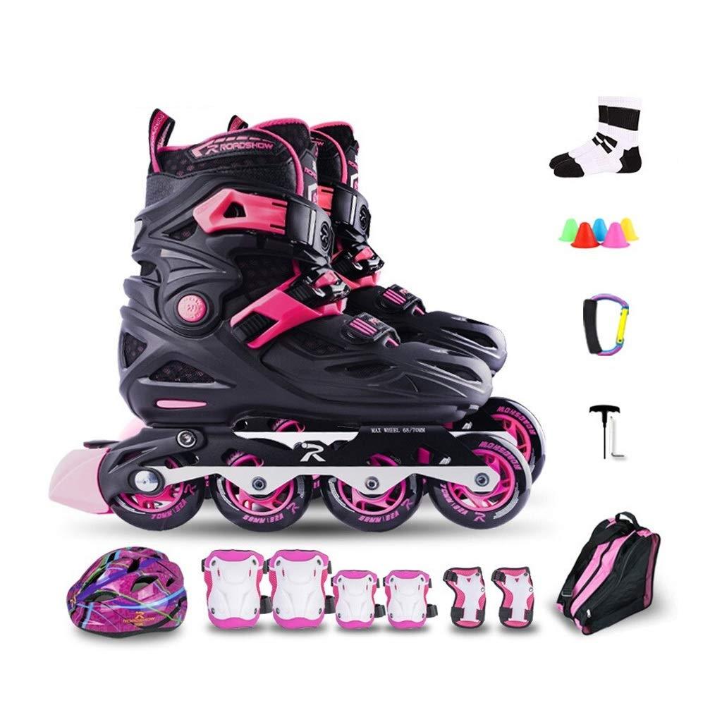 YANG 子供のための調節可能なインラインスケート、初心者のための大人のローラースケート、男の子、黒とピンクのスーツ、3つのサイズ (Size : S(EU 28- EU 31))  S(EU 28- EU 31)