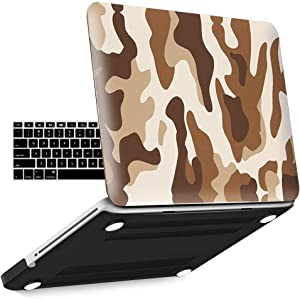 IBENZER MacBook Pro 13 Inch case A1278 Release 2012-2008, Plastic Hard Shell Case with Keyboard Cover for Apple Old Version Mac Pro 13 with CD-ROM, Desert Camouflage, P13CFBR+1B