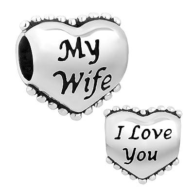 Amazoncom Lovelyjewelry Heart I Love You My Wife Charm Beads Fit