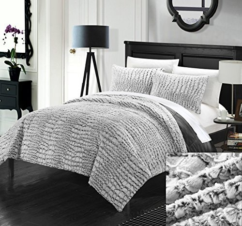 Perfect Home 3 Piece Cayman NEW FAUX FUR COLLECTION! With Mink like backing in Cayman Animal Skin Design Queen Comforter Set Grey