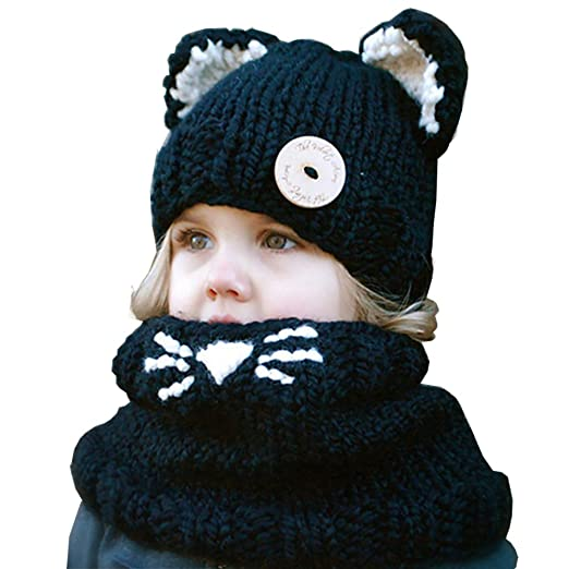 788b6ae3f ChuCai Baby Kids Winter Warm Cute Animal Caps Beanies Knitted Coif Hood Hat  and Scarf Set for Girls Boys