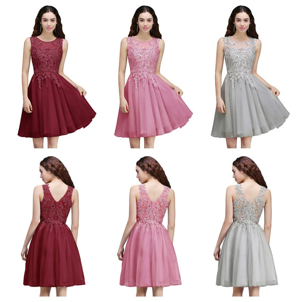 093ecac0872 Home Prom Dresses MisShow Women s Applique Tulle Short Cocktail Dress  Sleeveless Evening Gowns Pink US12.   