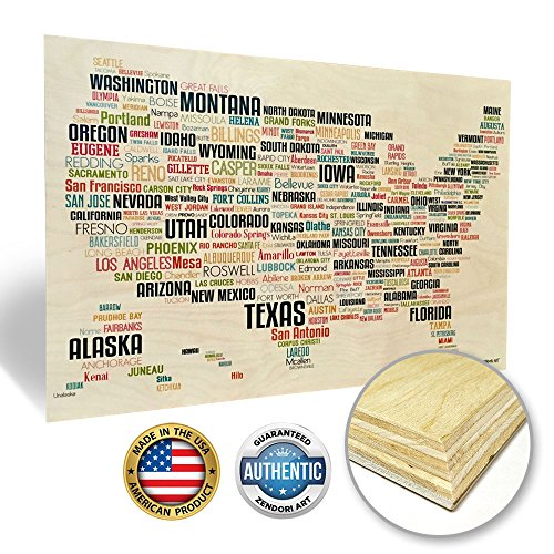 Zendori Art USA Map with Cities Decorative Art Print Decor - Hanging US Wall Maps for Home and Office (Wood Art, 24 x 16)